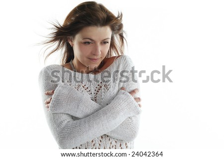 freeze from a cold woman isolated on white background - stock photo