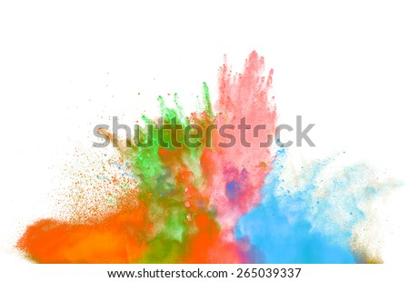 Freeze motion of colored dust explosion isolated on white background - stock photo