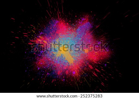 Freeze motion of colorful powder exploding isolated on black dark background. Abstract design of color dust cloud. Particles explosion screen saver, wallpaper, brush - stock photo