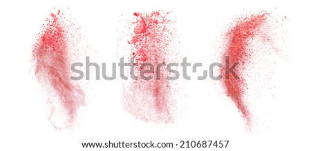 Freeze motion of red dust explosion isolated on white background - stock photo