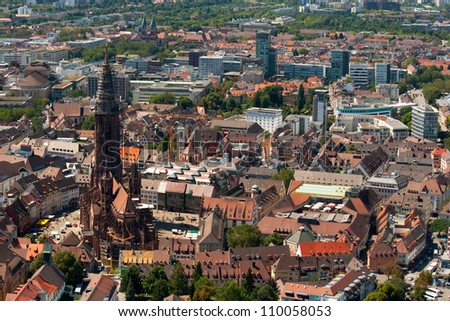 Freiburg cathedral viewed from the Schlossberg - stock photo