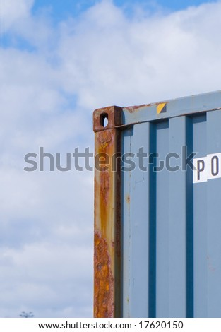 freight container stacked in the port of Auckland - stock photo
