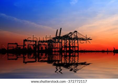 Freight dock of container crane,night scene - stock photo
