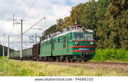 Freight electric train in Kyiv region, Ukraine - stock photo