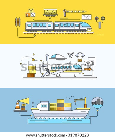 Freight Forwarding rail by sea and air. Transport delivery, shipping import industry, distribution and logistic, export railway transportation. Set of thin, lines, outline flat icons. Raster version - stock photo