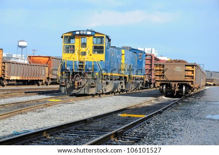 Freight Station with trains, train cargo. CSX train on the station of Baltimore, USA - stock photo