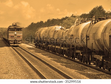 freight train carrying oil - stock photo