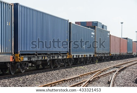 Freight train container - stock photo