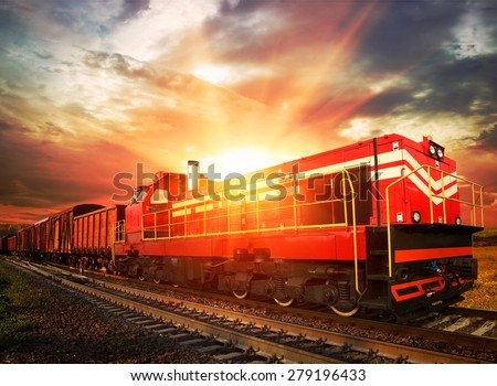 freight train in the morning sunlight - stock photo