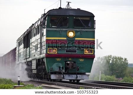 Freight train locomotive - stock photo
