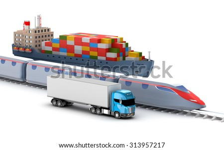 Freight transport by truck, rail and ship isolated on white - stock photo
