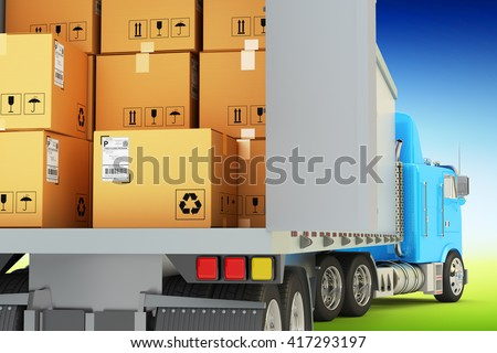 Freight transportation, packages shipment and shipping goods concept, cargo loading and unloading operations, delivery truck full of cardboard boxes on blue sky background, 3d illustration - stock photo