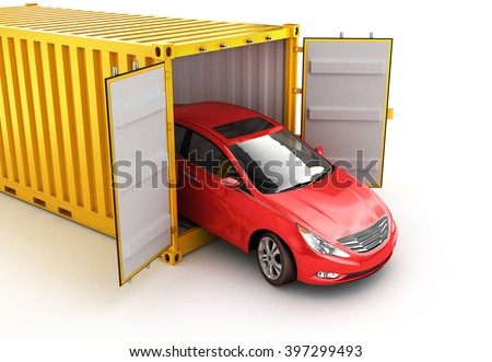 Freight transportation, shipment and delivery concept, red car inside yellow cargo container isolated on white - stock photo