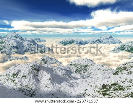 French Alps seen from the plane - stock photo