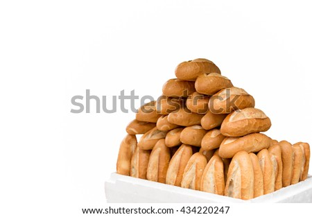 French Baguette bread isolated in white background - stock photo