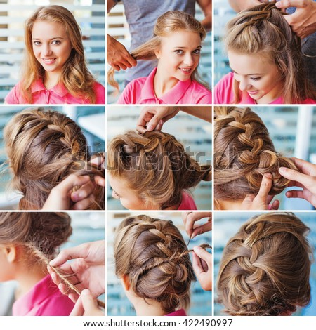 french braid party updo step by step tutorial by beauty blogger - stock photo