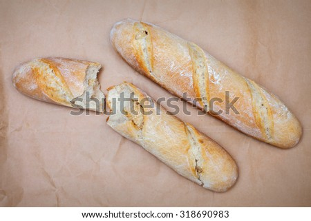 French bread on the table. The view from the top. - stock photo