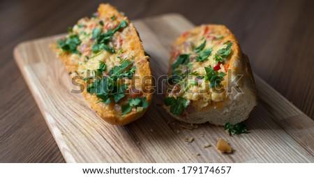 French Bread Pizza. Sandwich.  - stock photo
