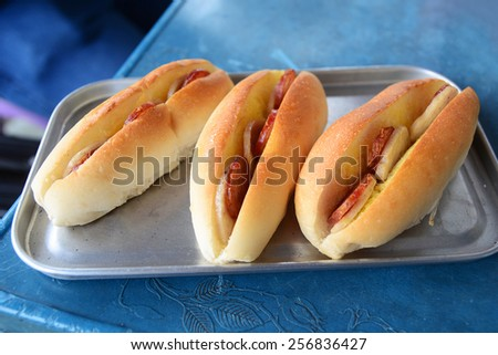 French Bread stack - stock photo