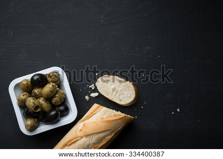 French Bread with Olives Food Background - stock photo
