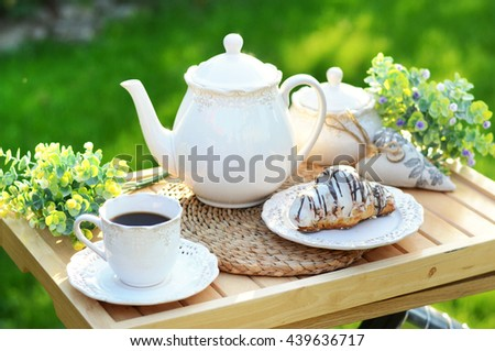 French breakfast or dessert with croissants,coffee - stock photo