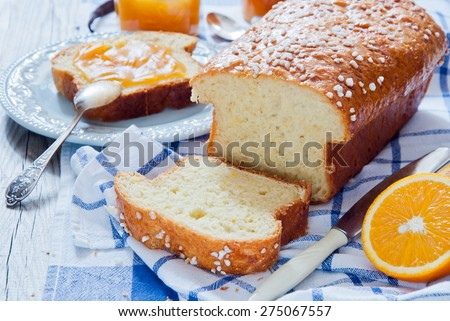 French Brioche - french sweet brioche bread with orange marmalade - stock photo