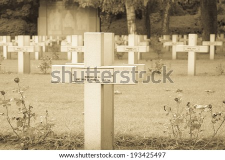 French cemetery from the First World War in Flanders belgium. - stock photo