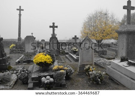 French cemetery in autumn  - stock photo