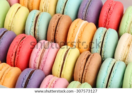 French colorful macarons background, close up - stock photo