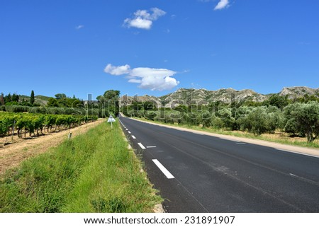 French countryside landscape. Road to foothill of Alps mountain, Provence, France - stock photo