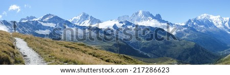 French countryside with Mont Blanc mountain range in the background - stock photo