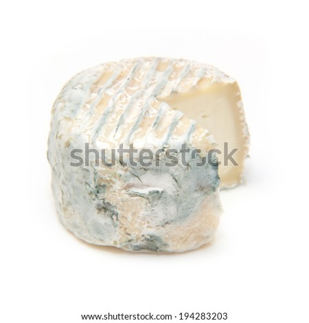 French crottin de chavignol goats cheese isolated on a white studio background , - stock photo