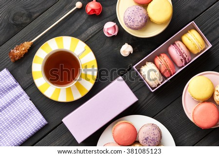 French delicious dessert macaroons on table - stock photo