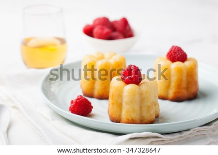 French dessert, cakes, caneles, rum baba with fresh raspberry and dessert wine on a white background - stock photo