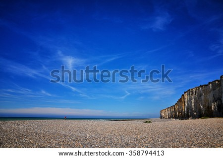 French destination, white cliffs in Normandy - stock photo