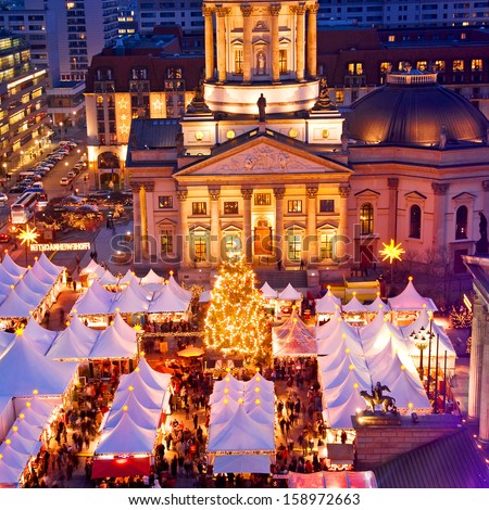 french dome and christmas market in berlin germany - stock photo