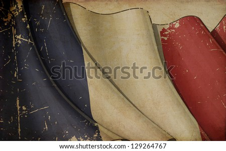 French Flag Old Paper - stock photo