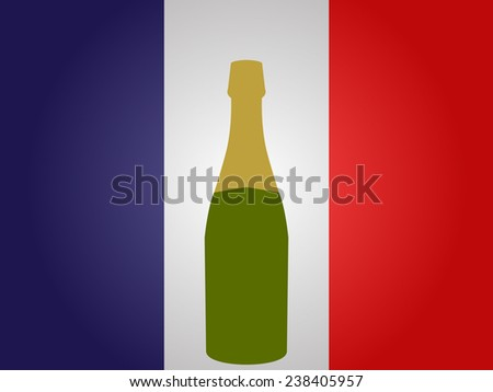 French Flag with a Bottle of Champagne - stock photo