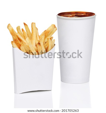 French fries and soda isolated on white background - stock photo