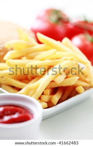 french fries and some burger - food and drink - stock photo