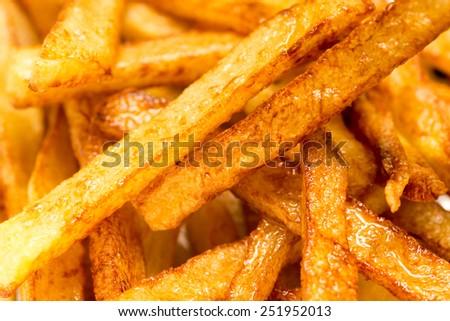 french fries background, closeup shot - stock photo