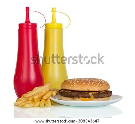 French fries, burger and souses isolated on white background - stock photo