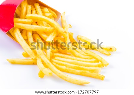 French fries chips on isolated white background - stock photo