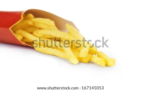 French fries - flying fried potatoes, fastfood - stock photo