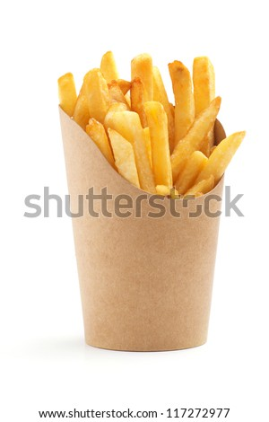 french fries in a paper wrapper on white background - stock photo