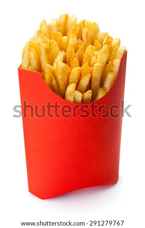 French fries in a red carton box, isolated on the white background, clipping path included. - stock photo