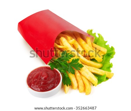 French fries in a red carton box isolated on white - stock photo