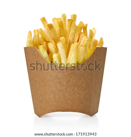 French fries in blank paper fry box on white background - stock photo