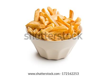 french fries in ceramic bowl on white background - stock photo