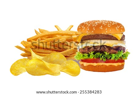French fries in white box and cheeseburger isolated on white - stock photo